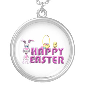 Happy Easter Bunny & Chick Silver Plated Necklace