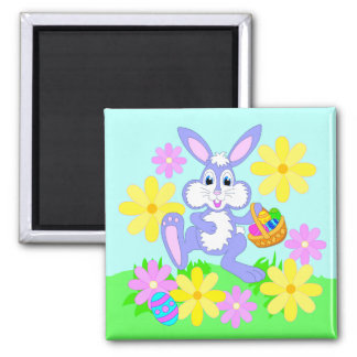 Happy Easter Bunny Cute Cartoon Rabbit Flowers 2 Inch Square Magnet