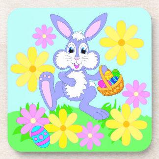 Happy Easter Bunny Cute Cartoon Rabbit Flowers Drink Coaster