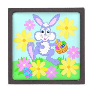 Happy Easter Bunny Cute Cartoon Rabbit Flowers Jewelry Box
