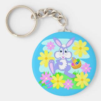 Happy Easter Bunny Cute Cartoon Rabbit Flowers Keychain