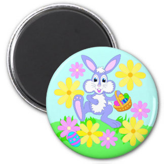Happy Easter Bunny Cute Cartoon Rabbit Flowers Magnet