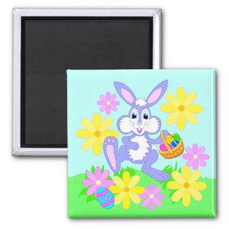 Happy Easter Bunny Cute Cartoon Rabbit Flowers Refrigerator Magnet