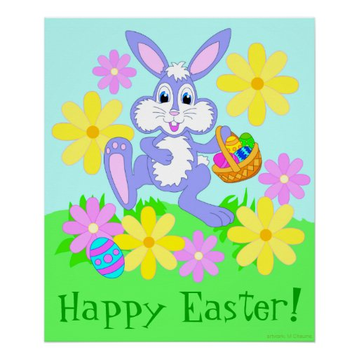 Happy Easter Bunny Cute Cartoon Rabbit Flowers Posters
