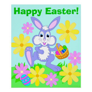 Happy Easter Bunny Cute Cartoon Rabbit Flowers Poster