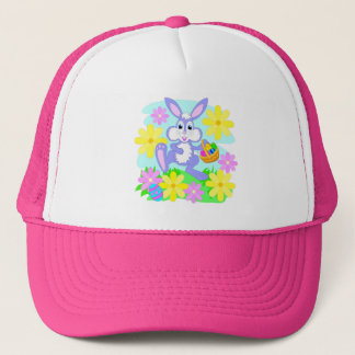 Happy Easter Bunny Cute Cartoon Rabbit Flowers Trucker Hat