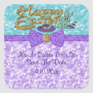 Happy Easter Bunny Date Saver Square Sticker