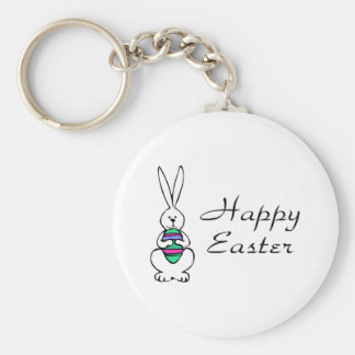 Happy Easter Bunny Egg Basic Round Button Keychain