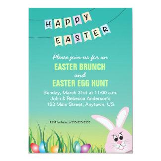 Happy Easter, Bunny & Eggs Easter Brunch Card