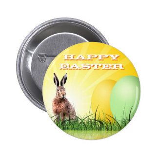 HAPPY EASTER - Bunny & Eggs Pinback Button