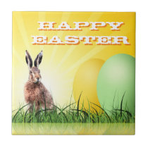 HAPPY EASTER - Bunny & Eggs Tile