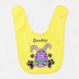 Happy Easter Bunny Escapes from Easter Egg Bib