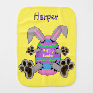 Happy Easter Bunny Escapes from Easter Egg Burp Cloth