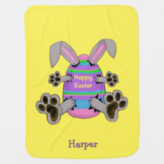 Happy Easter Bunny Escapes from Easter Egg Swaddle Blanket