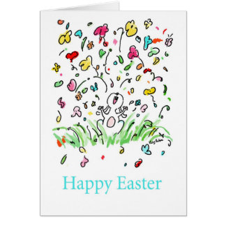 Happy Easter Bunny- Flowers Humor Festive Card