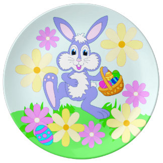 Happy Easter Bunny Flowers Porcelain Plate