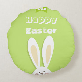 Happy Easter Bunny Greeting Round Pillow