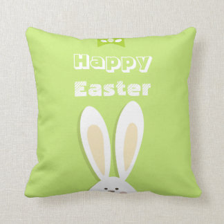 Happy Easter Bunny Greeting Throw Pillow