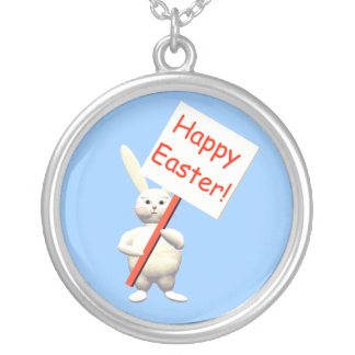 Happy Easter Bunny Greets Round Pendant Necklace