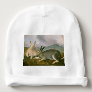 Happy Easter Bunny Hare Couple Watercolor Vintage Baby Beanie