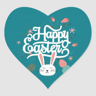 Happy Easter Bunny Heart Sticker