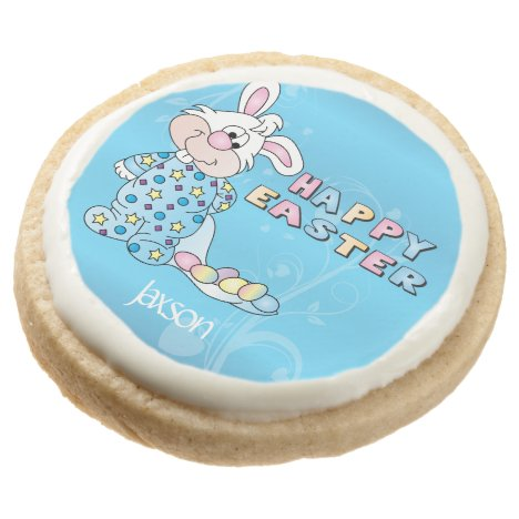 Happy Easter Bunny in Baby Blue Round Shortbread Cookie
