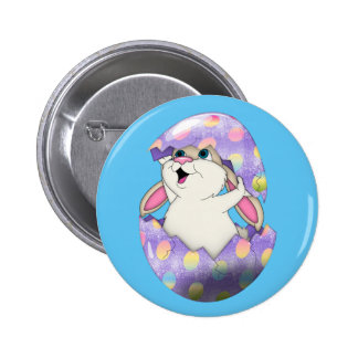Happy Easter Bunny inside colored egg Pinback Button