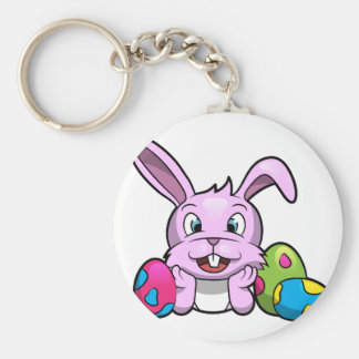 Happy Easter Bunny Basic Round Button Keychain
