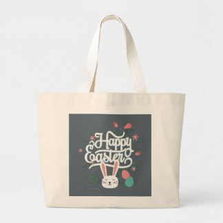 Happy Easter Bunny Large Tote Bag