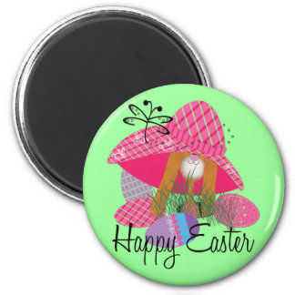 Happy Easter Bunny 2 Inch Round Magnet