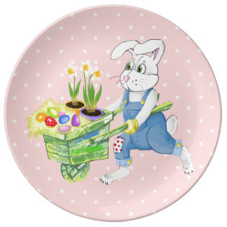 Happy Easter bunny Porcelain Plates