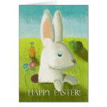 Happy Easter Bunny Meadow Spring Flower Pastel Greeting Card