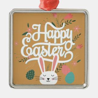 Happy Easter Bunny Metal Ornament