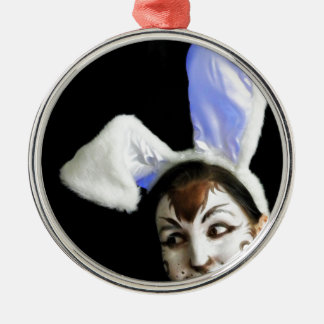 Happy Easter Bunny Metal Ornament