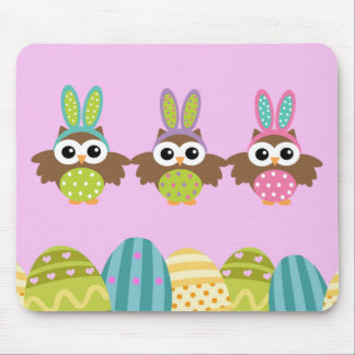 Happy Easter Bunny Owls Mouse Pads