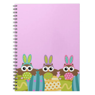 Happy Easter Bunny Owls Spiral Notebooks