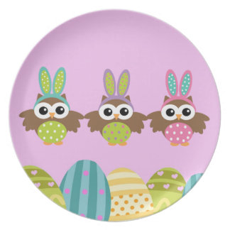Happy Easter Bunny Owls Dinner Plates