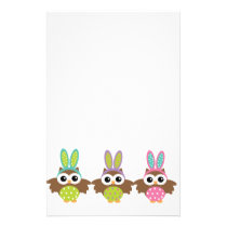 Happy Easter Bunny Owls Stationery
