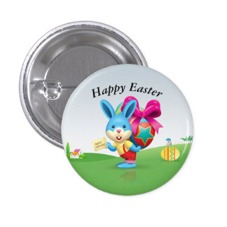 Happy Easter Bunny Pinback Button