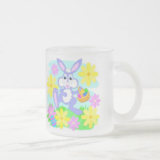 Happy Easter Bunny Pink Yellow Flowers Eggs Frosted Glass Coffee Mug
