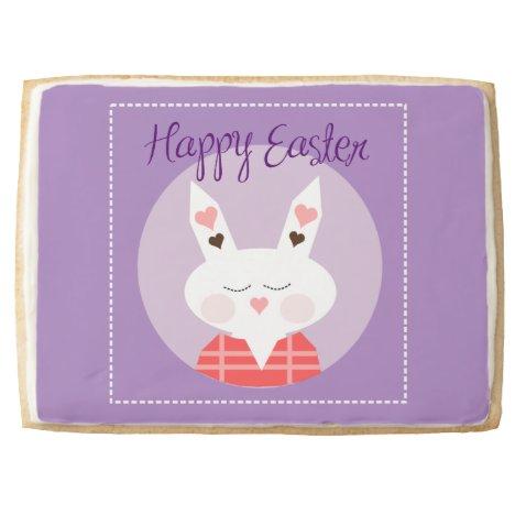 Happy Easter Bunny Purple Jumbo Shortbread Cookie