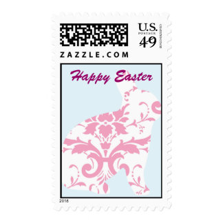 Happy Easter Bunny Rabbit Damask Postage Stamps