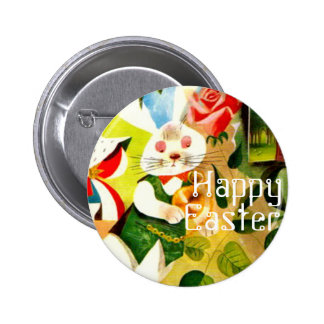 Happy Easter Bunny Rabbit Holiday Basket Gift Pinback Button