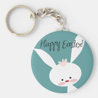 Happy Easter bunny rabbit on blue teal background Key Chain
