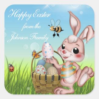 Happy Easter Bunny Rabbit Square Sticker