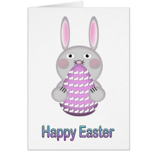 Happy Easter Bunny Rabbit with Easter Egg Card