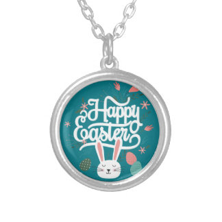 Happy Easter Bunny Silver Plated Necklace