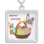 HAPPY EASTER BUNNY SQUARE PENDANT NECKLACE