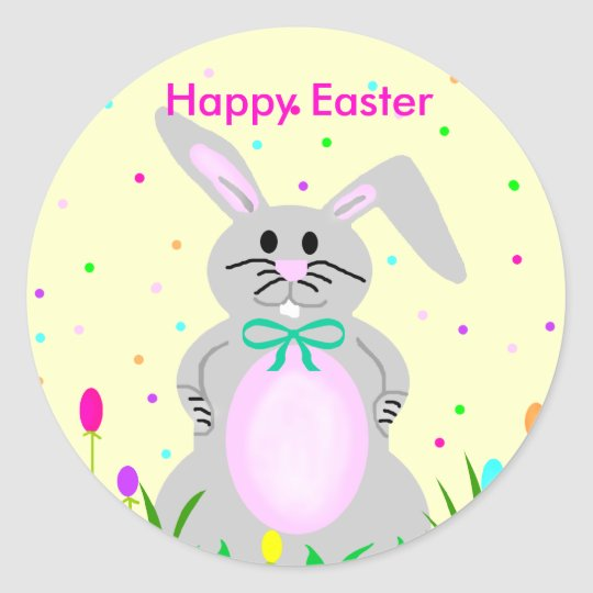 Happy Easter Bunny Template Stickers Zazzle Com