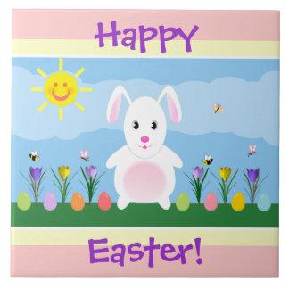 Happy Easter Bunny Tile Trivet Decoration